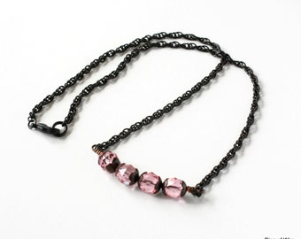 Pink Bead Necklace, Glass Bead Necklace, Black Chain Necklace, Bar Necklace, Minimalist Jewelry, Pink Glass Bead Necklace, Wedding Jewelry