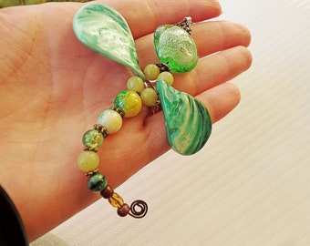 Beaded Green Dragonfly pendant in handmade/ Chain Necklace with pendant/ Beaded Dragonfly/ Multicolour pendant/ Coupon code sale
