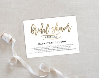 Bridal Shower Template | Editable Invitation Printable | Bridal Shower Invite Calligraphy, Gold | No. EDN 5367