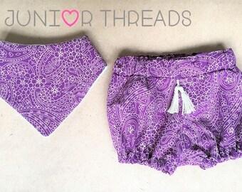Purple Boho Bloomers and Bandana Bib