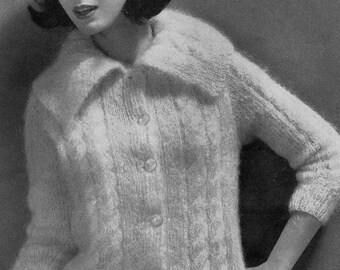 PATTERN Ladies Vintage Cable Knit Sweater Pattern Cardigan PDF Pattern to Knit Button Down Long Sleeve big sailor collar