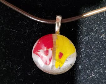Melted Flowers Fused Glass Pendant