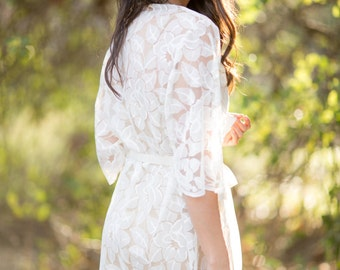 Lace Robe for Bride, Lingerie, Getting Ready, Bridal Gift, Bachelorette party Gift, Honeymoon, Lace Kimono, Wedding Gift, I do, White Lace