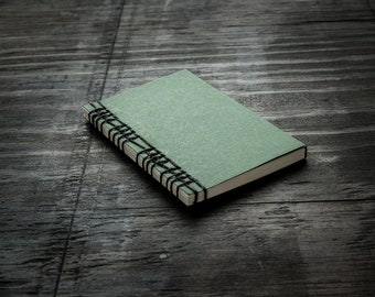 Small Green Handmade Notebook with Cover Flap, Stitched Binding with Hemp Cord, Unlined Recycled Paper, Travel Notebook, Sketchbook