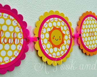 You Are My Sunshine Personalized High Chair Banner in Pink, Orange, and Yellow  First Birthday Decoration
