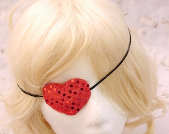 Sparkle Deep Red Heart  Pirate eye Patch