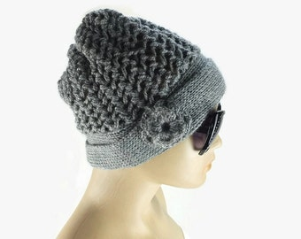 Womens Knit  hat, Gray Beanie with crochet flower, Fashion winter Hat, Gift For Her