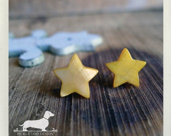 DOLLAR DEAL! Twinkle Twinkle. Post Earrings -- (Yellow, Star, Vintage-Style, Gift Under 5, Gold, Bright, Geometric, Cute, Birthday Gift)