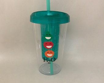 Fruit infuser water bottle, straw, tumbler, fitness, healthy, sports