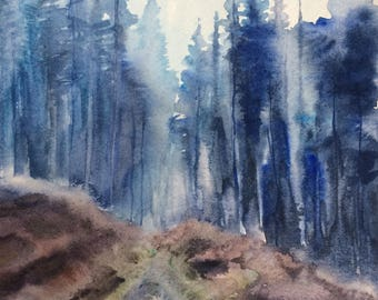 Peak District, forest painting, Misty forest, pine tree forest, Hope Woodlands, tree painting, forest watercolor, fir trees,watercolor trees