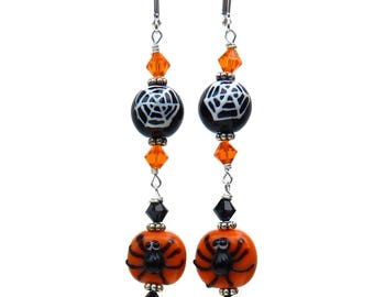 Halloween Spider Earrings, Orange and Black, Swarovski Crystals, Halloween Jewelry, Lampwork Spiders and Spider Webs