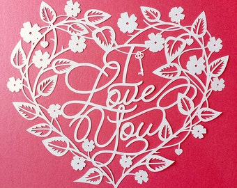 Papercut Template 'I Love You' Love Heart Valentines Wedding PDF JPEG for handcut & SVG for Silhouette Cameo or Cricut