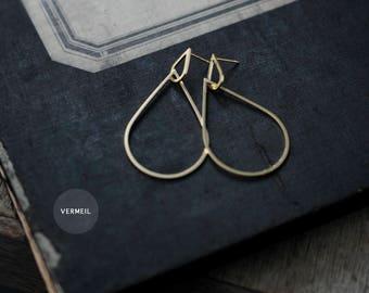 Falling petals hoops Silver or gold Vermeil earrings