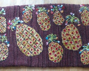 Hand hooked wool and cashmere pineapple rug - sold