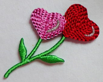 Embroidered Iron-On Applique Heart Flower, 1+1/2 inch