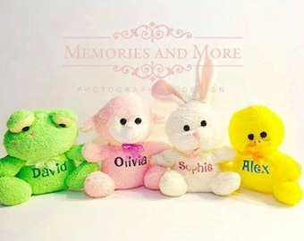 Personalized Easter Plushies-Stuffed Animals-Easter basket Stuffer-Best Easter Gift