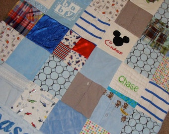 Custom Memory Quilt made from your Little Loves Clothing- Small Throw/ Lap Throw Size
