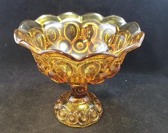 Vintage 'Moon and Stars' Amber Compote Dish by LE Smith 6 5/8 Inches Tall     01901