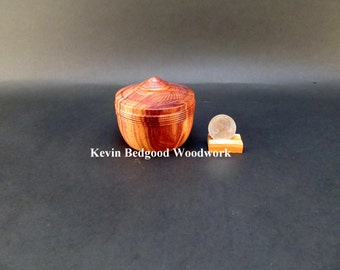 Box lidded container Cebil, Patagonian Rosewood hand turned Jewelry stash