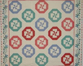 Pinwheel Posies Easy Quilt Pattern PDF