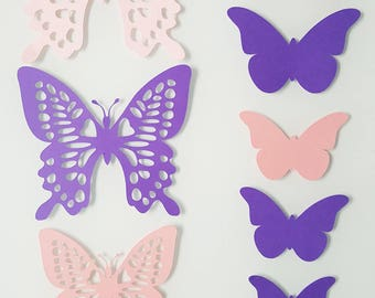 Set of 10 Butterfly pink and purple