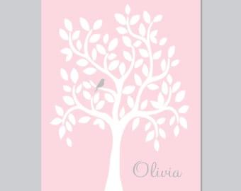 PINK GRAY Nursery Decor, Pink Gray Nursery Art, Print Or Canvas, Personalized Nursery Tree, Girl Baby Shower Gift, Girl Nursery Decor, 1