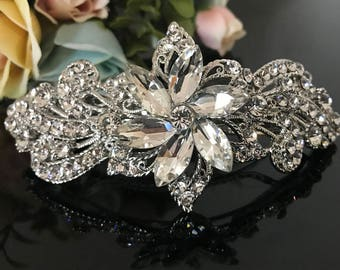 crystal flower barrette, french clip, hair accessory,hairclip