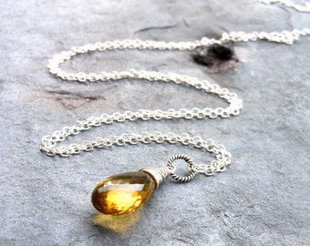 Beer Quartz Necklace Whiskey Gemstone Briolette Pendant Necklace Sterling Silver Amber Gold