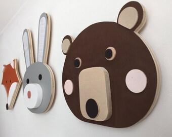 Animal Head, Nursery Decor, Bear, Bunny, Fox, Faux Taxidermy, Woodland Themed Nursery, Fox Kids Decor,  eco-friendly