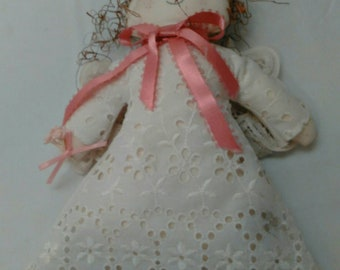 Vintage Small Handmade Fabric Angel Doll with lace wings
