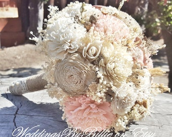 Blush Champagne Sola Wedding Bouquet,Fall Bouquets,Sola Flowers, Alternative Bouquet,Rustic Shabby Chic ,Bridal Accessories,Keepsake Bouquet