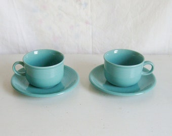 Vintage 1950s Montgomery Ward Color Connection blue green aqua teal pair coffee tea cup and saucers 2 sets modern farmhouse camper