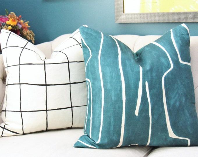 Kelly Wearstler Graffito Pillow Cover- Teal Ivory Pearl Modern- Designer Geometric Cover - Lee Jofa - Groundworks