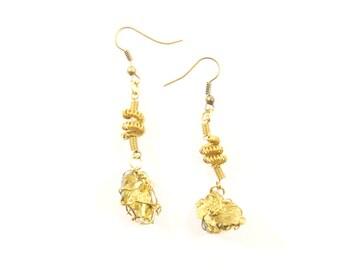 Pyrite Brass Earrings