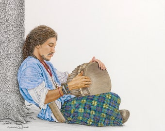 """Limited Edition Print """"Djembe"""", Colored Pencil Drawing by Katherine Thomas"""