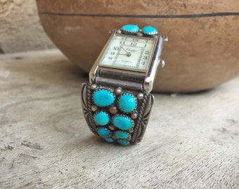 Vintage Turquoise Watch Tips for Women or Men Navajo Jewelry, Native American Indian Watch Band