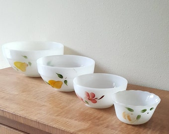 Fire King Gay Fad Nesting Prep Bowls Set of 4 Milk Glass Bowls by Anchor Hocking Hand Painted Fruit Has Wear
