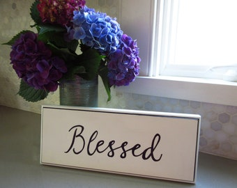 Blessed Sign with Shell and Jute Christian Home Decor Gallery Wall Black and White Sign Beachy Cottage Count Your Blessings