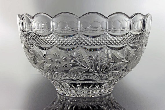 Leaded Crystal Bowl, Heavy, Clear Glass, Scalloped Edge, Frosted Floral Pattern, Crisscross Design