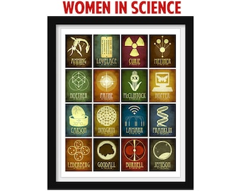 Women In Science Poster, Scientist Art Print, Inspirational Poster, Science Gift, Classroom Art, Science Teacher Gift, Educational Poster