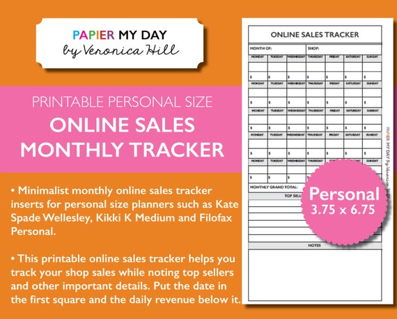 personal monthly online sales tracker printable etsy monthly
