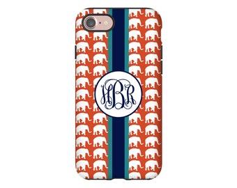Elephant iPhone 7 case, monogram iPhone X case, iPhone 8 case,  iPhone 8 Plus case, iPhone 7 Plus case, iPhone 6s case/6s Plus/6/6 Plus case