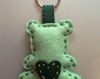 Light green and khaki bear keychain