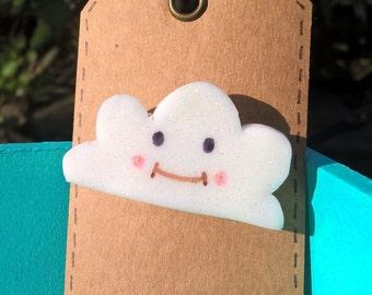 Cute Happy Cloud Fimo Brooch.
