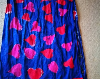 Bespoke designer hand painted scarf wrap red pink love heart navy red pom pom trim