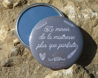 "Round Pocket mirror ""Mirror of the perfect teacher"" 75 mm customizable teacher aides nanny gift"
