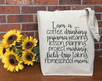 Homeschool Mom Canvas Tote Bag, Cotton Canvas Tote Bag, Market Bag, Reusable Grocery Bag, Shopping Bag, Printed Tote, Teacher Gift