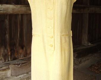 SALE!  Vintage 1950's  R & K Originals Buttercup Yellow Rayon Slub Weave Sack Back Dress
