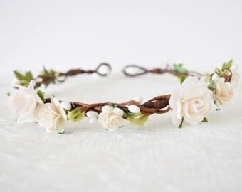 Rose Flower Crown, bridal flower crown, spring wedding, woodland wedding, flowergirl garland, floral crown, bridesmaid - CHLOE