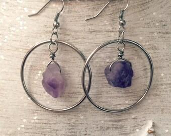 Genuine Amethyst Crystal Hoop Earrings